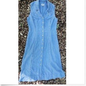 Vintage 80s Western Denim Jumper Hipster Dress 12